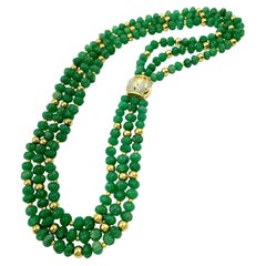 18K Yellow Gold Diamond and Melon Shaped Chrysoprase and 18K Gold Bead Necklace
