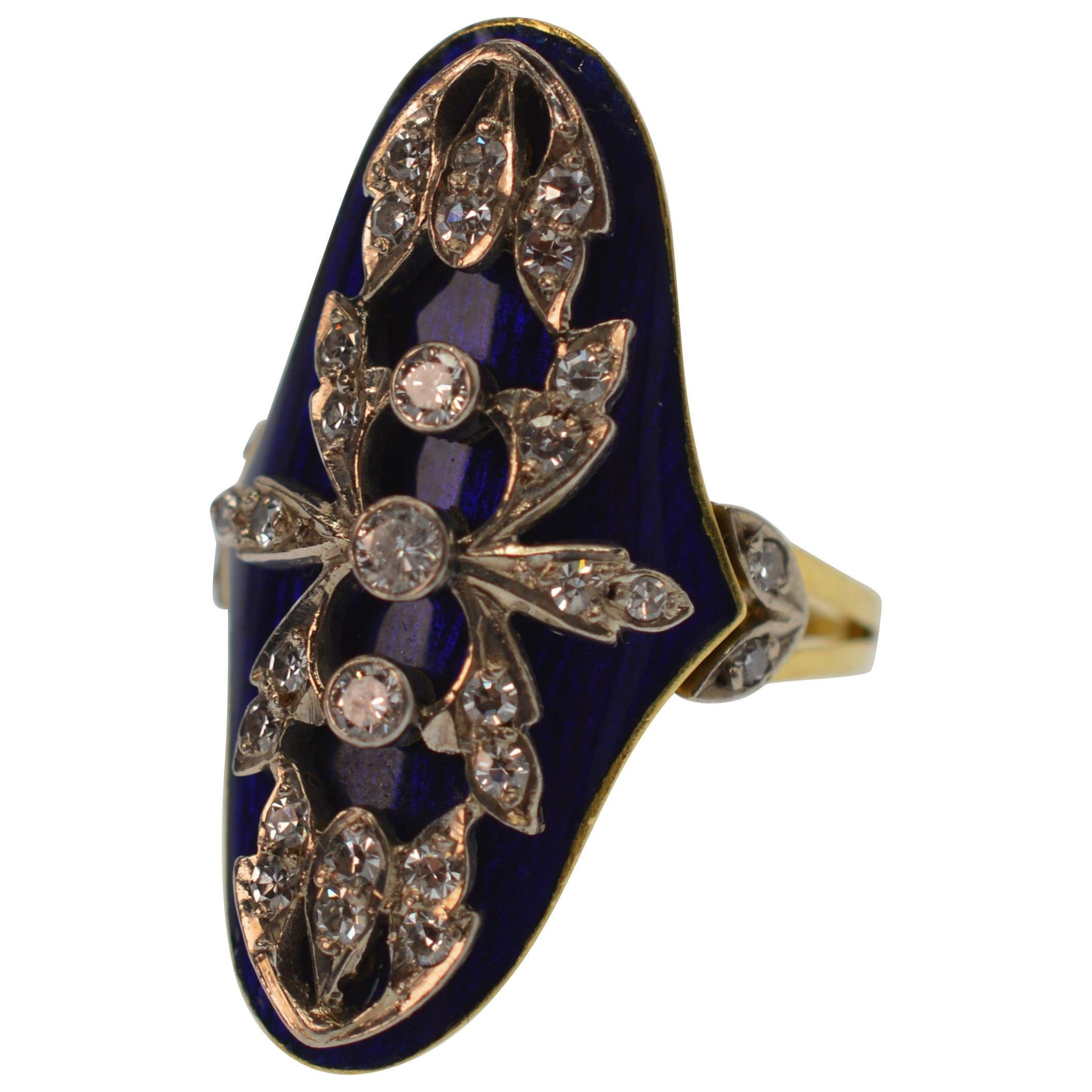 18K Yellow Gold & Diamond Blue Italian Enamel Ring