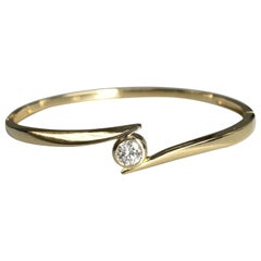 18k Yellow Gold Diamond Bypass Bangle Bracelet