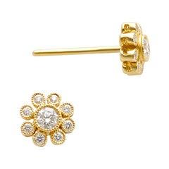 18k Yellow Gold Diamond Cluster Stud Earrings