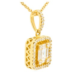 18K Yellow Gold Diamond Emerald Illusion Pendant with Diamond Halo and Chain