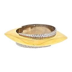 18k Yellow Gold Diamond Geometrical Chunky Bangle Bracelet