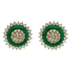 18 Karat Yellow Gold Diamond Jade Clip-On Earrings