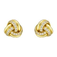 18k Yellow Gold & Diamond Knot Earstuds