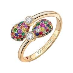Fabergé 18K Gold Diamond & Multicolour Gemstone Encrusted Eggs Crossover Ring