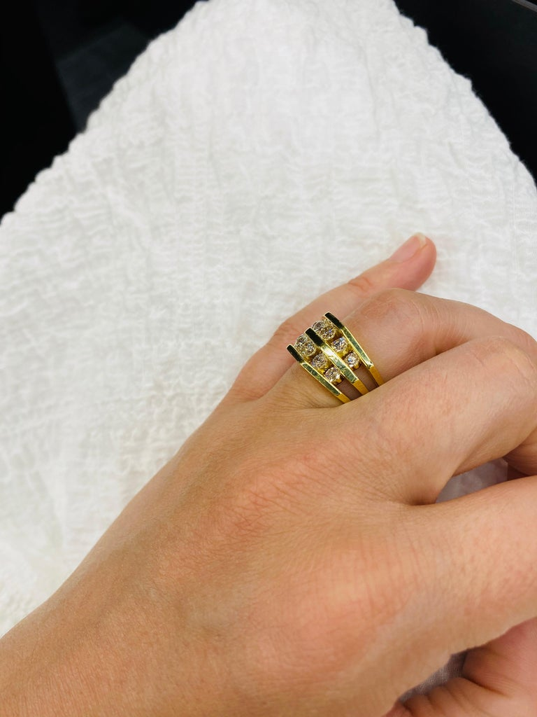 18 Karat Yellow Gold Diamond Openwork Ring 1.65 Carat For Sale 6