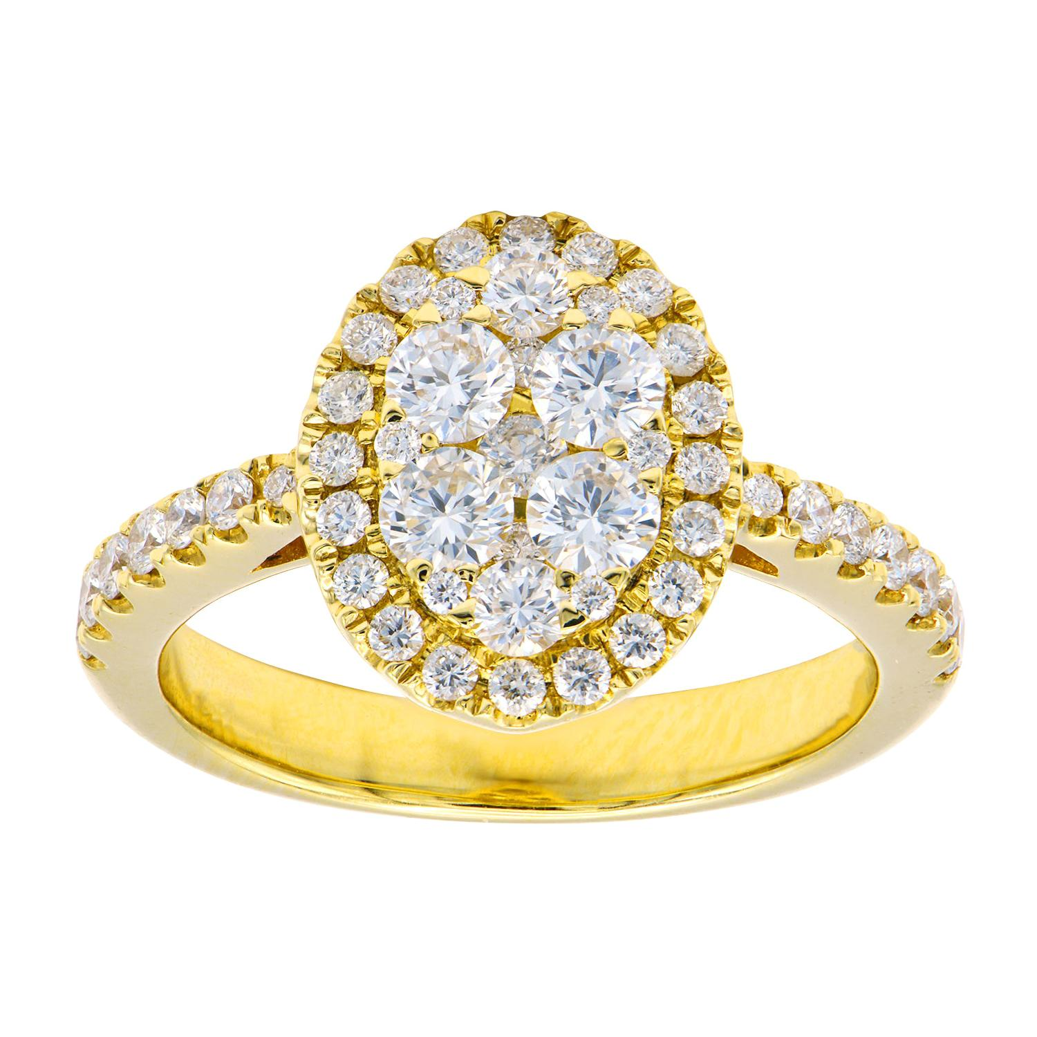 18k Yellow Gold Diamond Oval Cluster Ring