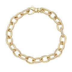 18k Yellow Gold & Diamond Oval Link Bracelet
