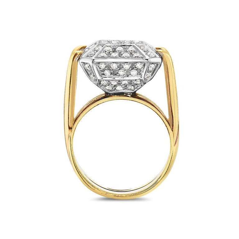 This cocktail ring features 1.72 carats of G VS pave diamonds set in 18K yellow gold. 18.7 grams total weight. Made in Italy. Size 7.5.  Can be resized upon request.   Viewings available in our NYC showroom by appointment.