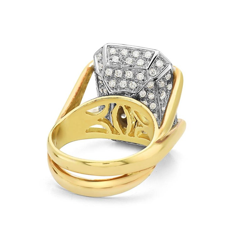 Contemporary 18 Karat Yellow Gold Diamond Pave Cocktail Ring For Sale