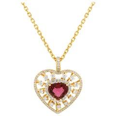 18K Yellow Gold Diamond Red Tourmaline Heart Enhancer Pendant Chain Necklace