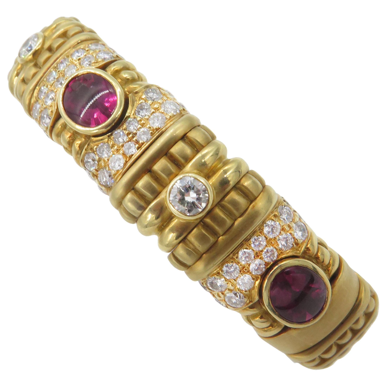 18 Karat Yellow Gold Diamond and Rubelite Bracelet