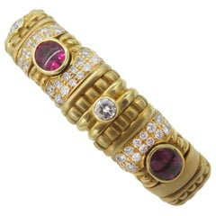18 Karat Yellow Gold Diamond and Rubelite Bracelet