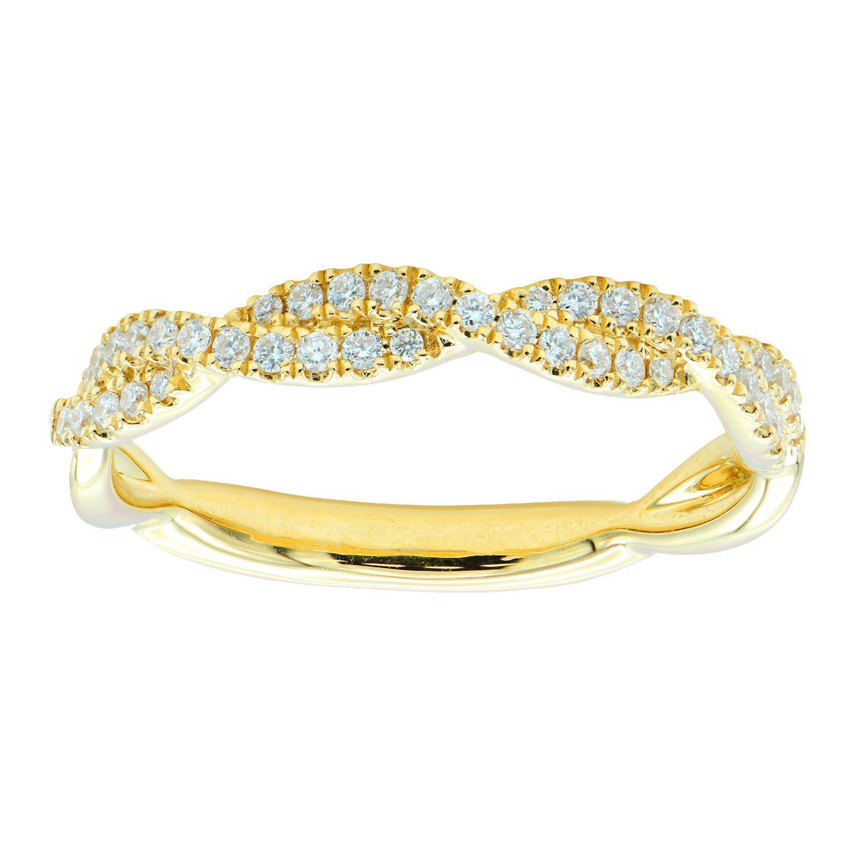 18k Yellow Gold Diamond Twist Band