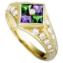 18 Karat Yellow Gold Diamonds, Amethyst and Tsavorite Ring