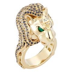18K Yellow Gold Diamonds Sapphires Emeralds Pave Cocktail Statement Ring Lion