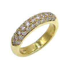 18k Yellow Gold Dome Ring with Pave Set Diamonds