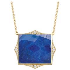 18K Yellow Gold Doublet Cushion Necklace w/Lapis Lazuli, White Quartz & Diamonds