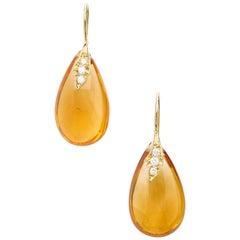 18 Karat Yellow Gold Drop Earrings Set with 30.12 Carat Citrines and Diamonds