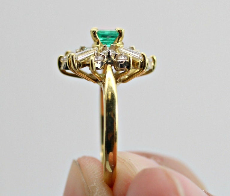 Emerald Cut 18k Yellow Gold Emerald and Diamond Ballerina Ring For Sale