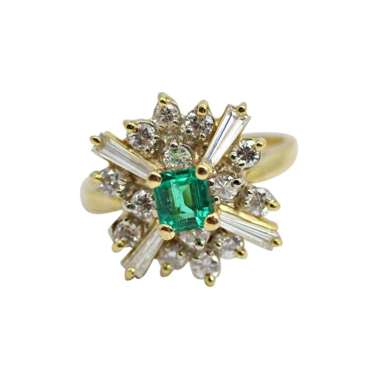18k Yellow Gold Emerald and Diamond Ballerina Ring For Sale