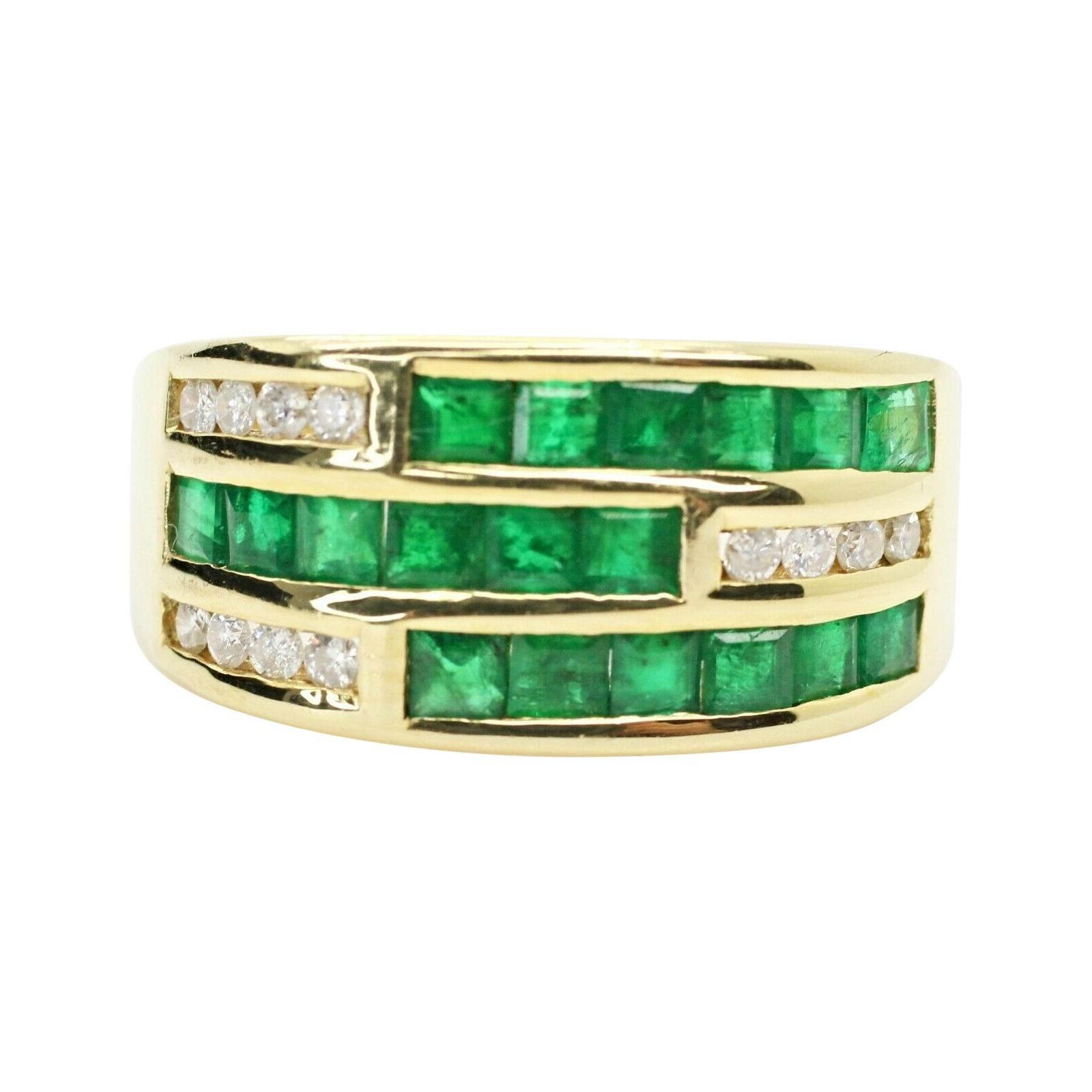 18k Yellow Gold Emerald and Diamond Channel Set Ring