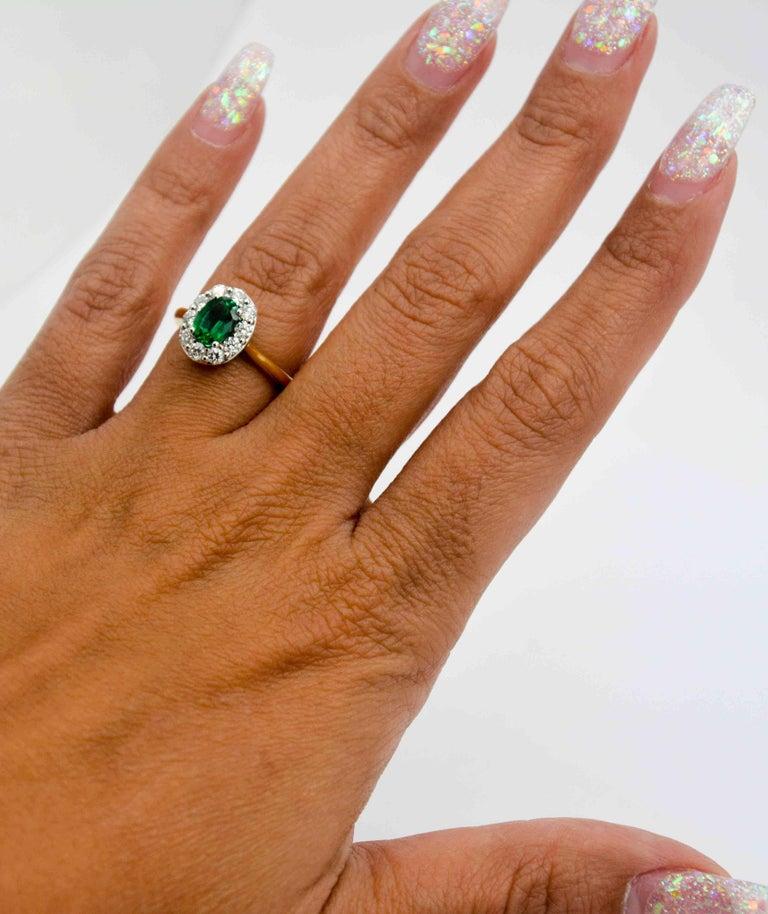 Women's or Men's 18 Karat Yellow Gold Emerald and Diamond Halo Engagement Ring For Sale