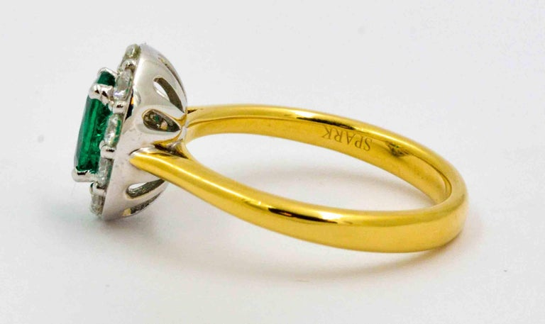 18 Karat Yellow Gold Emerald and Diamond Halo Engagement Ring For Sale 1