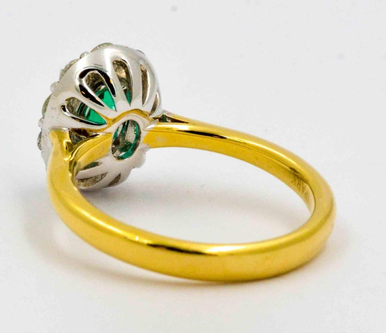 18 Karat Yellow Gold Emerald and Diamond Halo Engagement Ring For Sale 2