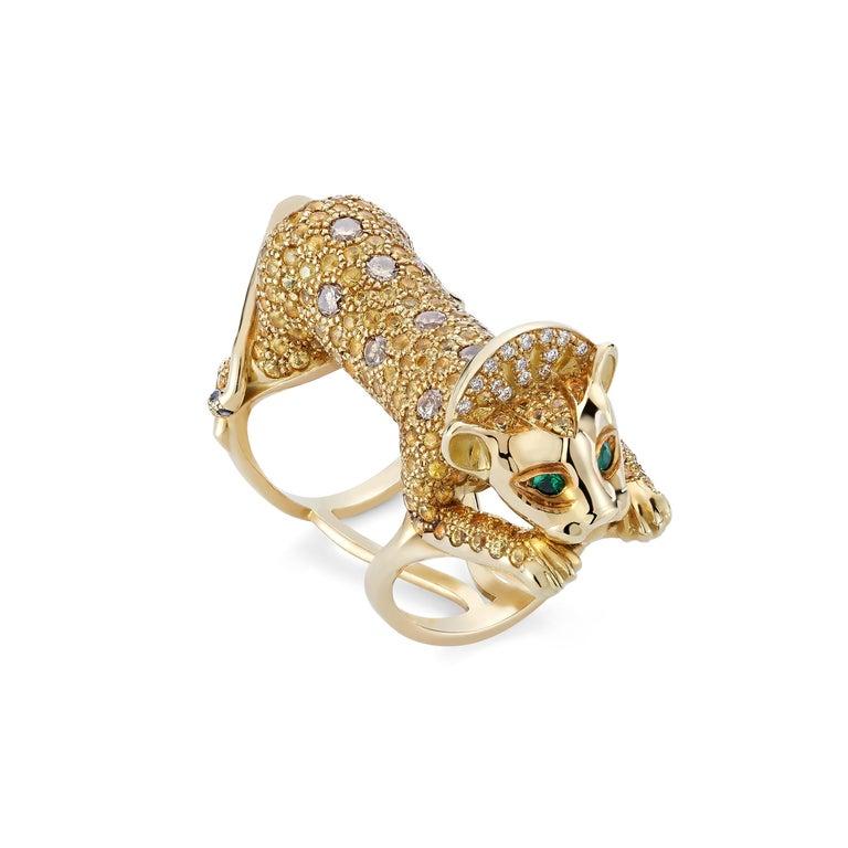 Brilliant Cut 18 Karat Yellow Gold Emeralds Diamonds Cognac Brilliant Pave Cocktail Ring Lion For Sale