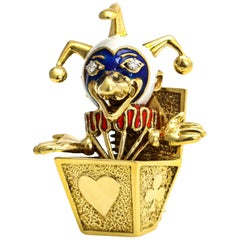 18 Karat Yellow Gold Enamel Clown in the Box Brooch