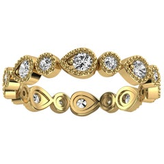 18k Yellow Gold Eternity Milgrain Organic Design Diamond Ring '2/5 Ct. Tw'