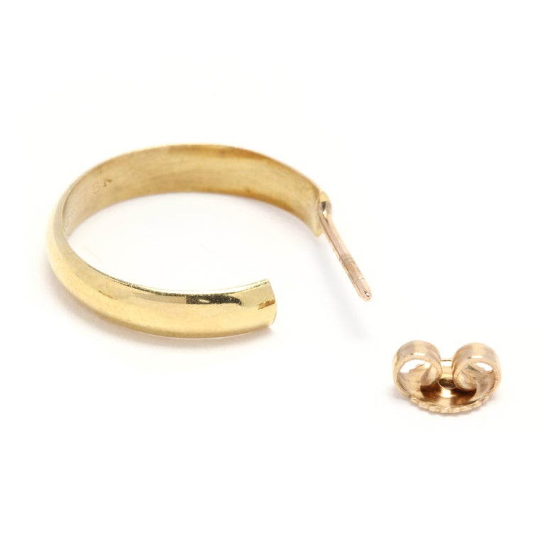 Women's or Men's 18 Karat Yellow Gold Flat Hoop Earrings For Sale