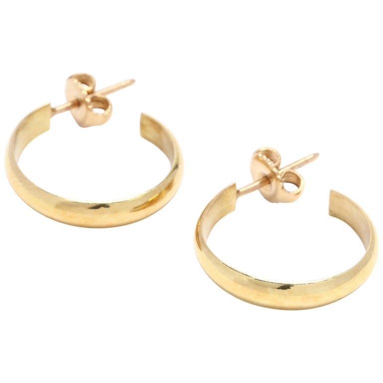 18 Karat Yellow Gold Flat Hoop Earrings For Sale