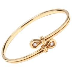 18 Karat Yellow Gold Flexible Diamond Loop Cuff Bracelet