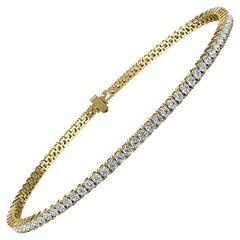 18k Yellow Gold Four Prongs Diamond Tennis Bracelet '2 Ct. tw'