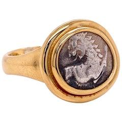 18 Karat Yellow Gold Greek Lion Coin Men's Ring