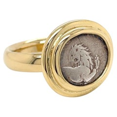 18k Yellow Gold Greek Lion Coin Ring