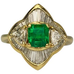18k Yellow Gold Green Emerald with Trillion Cut and Baguette Cut Diamond Ring