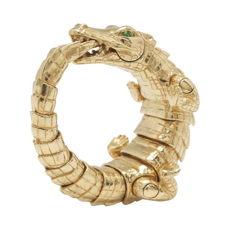 18k Yellow Gold Green Tsavorites Alligator Wrap Statement Ring For Sale