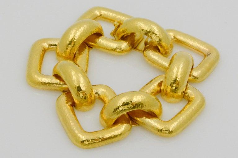 Elizabeth Locke 18 Karat Yellow Gold Hammered  Rectangular Link Bracelet For Sale 2