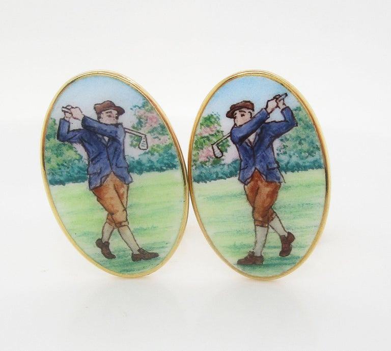 Modernist 18 Karat Yellow Gold Hand Painted Bobby Jones Golfer Cufflinks For Sale