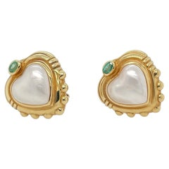 18k Yellow Gold Heart Shaped Mabe Pearl and Tourmaline Earring