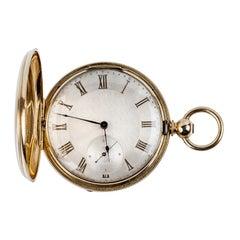 18K Yellow Gold Hunter-Case Swiss Pocket Watch 1880 Guye aux Perrieres