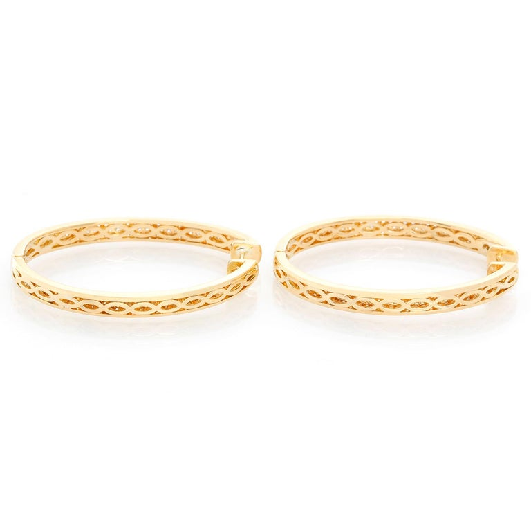 Women's 18 Karat Yellow Gold Inside Out Pave Diamond Hoops For Sale