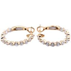 18 Karat Yellow Gold Inside or Outside 1.00 Carat Diamond Hoop Earrings