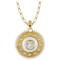 18K Yellow Gold Invisible Set Baguette Diamond Medallion Necklace w/ White Agate