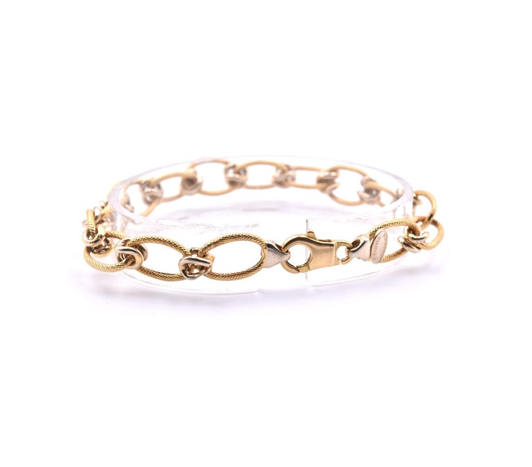 "Women's or Men's 18 Karat Yellow Gold Italian Designed ""Creazioni"" Textured Oval Link Bracelet For Sale"