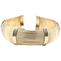 18 Karat Yellow Gold Italian Flexible Cuff Bracelet