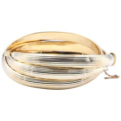 18 Karat Yellow Gold Italian Triple Weave Bangle Bracelet